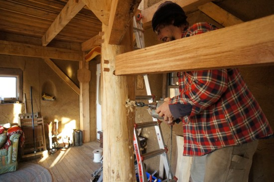 Timber Frame Spiral Staircase: Drilling