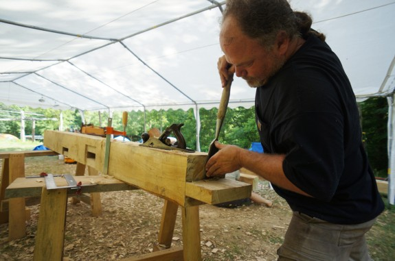 Paring a Tenon Shoulder with Chisel