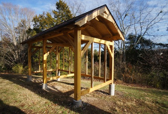 Completed 8x16 Timber Frame Wood Shed | The Year of Mud